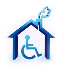 handicap house illustration design over a white background